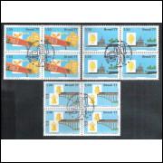 1977 - C-1020-22CCO - Integração Nacional. Aviação, ferrovia, navio.Quadras com carimbo comemorativo