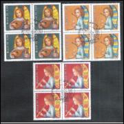 1978 - C-1071-73CCO - Natal. Anjos, instrumentos musicais, música. Quadras com carimbo comemorativo.