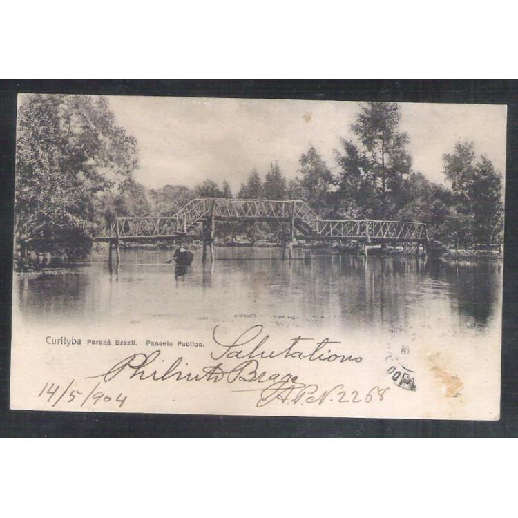 CTB58 - Postal circulado em 1904, Curitiba, Passeio Público, ponte.