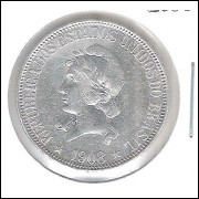 1908 - 1000 Réis, prata, mbc/s, Brasil-República.