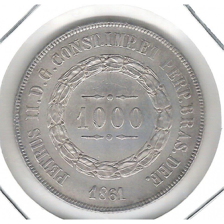 1861 - 1000 Réis, prata, FC, Brasil-Império, Dom Pedro II.