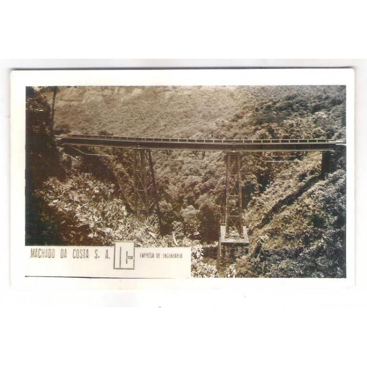 FER05 - Postal antigo, Estrada de Ferro  Curityba-Paranagua. Ponte. Ferrovia. Machado da Costa S. A.