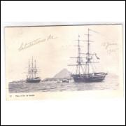 RJ133 - Postal circulado em 1905, Bahia do Rio de Janeiro, navios, embarcações.