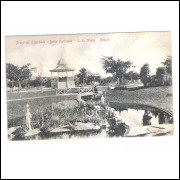 BH12 - Postal circulado em 1910, Belo Horizonte, Praça da Liberdade