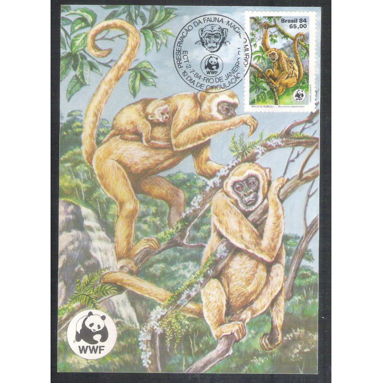 max102 - 1984 Fauna Brasileira - Macaco e filhote. WWF.