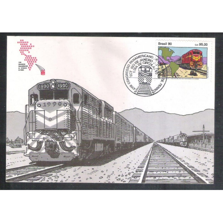 max144 - 1990 Congresso Panamericano Estradas de Ferro. Ferrovia. Trem. Locomotivas.
