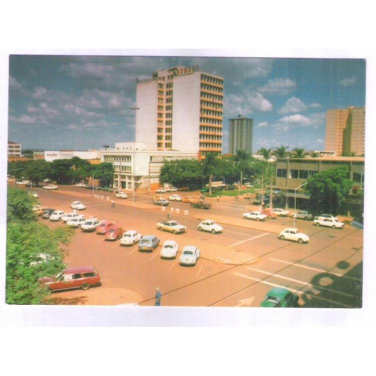 MR02 - Postal antigo, Maringá, Avenida Brasil. Carros.