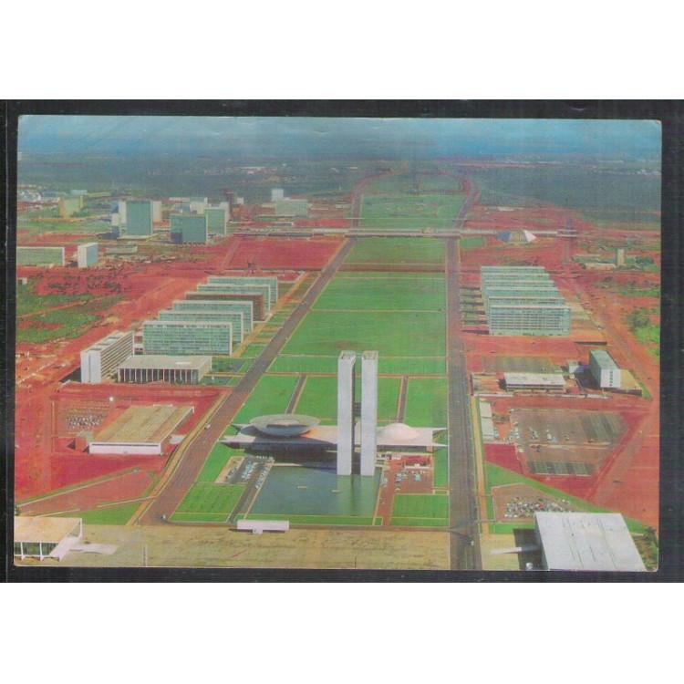 BA02 - Postal circulado em 1970, Brasília, Eixo Monumental e Esplanada dos Ministérios