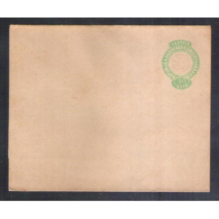 CT-08 - Brasil-1893, Cinta de 20 Réis, Cabeça da Liberdade, tipo I, fecho obtuso, novo.