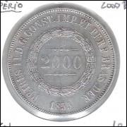 1855 - 2000 Réis, prata, soberba, Brasil-Império, Dom Pedro II.