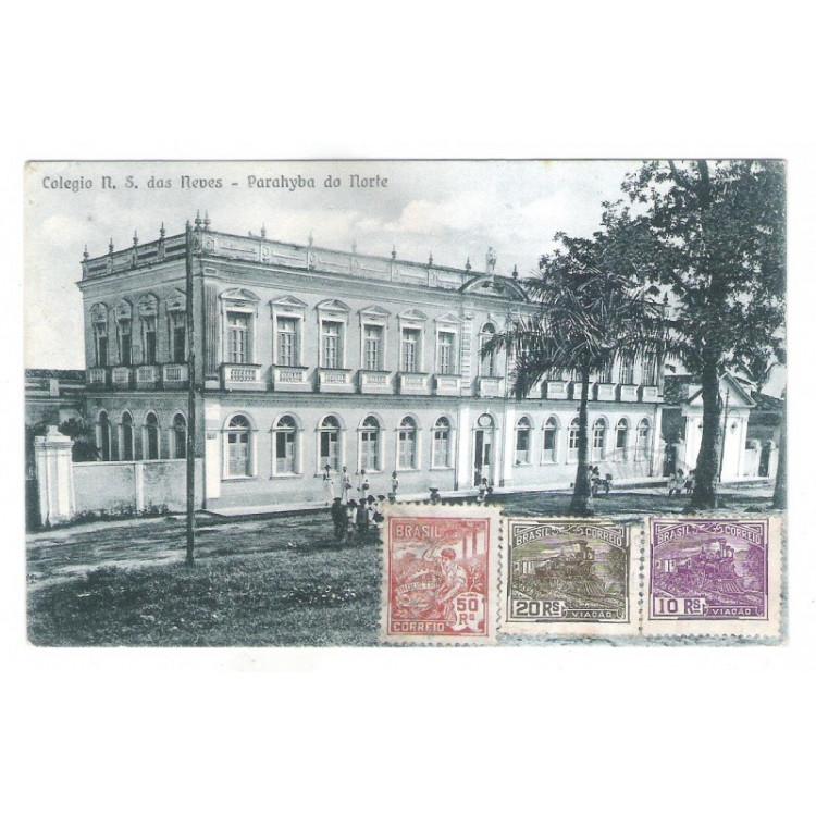 jp08 - Cartão postal circulado 1928 Colégio N. S. das Neves, Parahyba do Norte (João Pessoa).