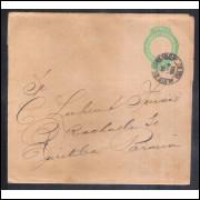 CT-08 - Brasil-1893, Cinta de 20 Réis, Cabeça da Liberdade, tipo I, fecho obtuso, circulado em 1904.