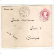EN-61 - Envelope de 100 Réis, Cabeça da Liberdade, algarismos finos, circulada 1916  Rio - Curitiba.