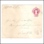 EN-61 - Envelope de 100 Réis Cabeça da Liberdade,algarismos finos,circulada 1916 Itararé - Curitiba.