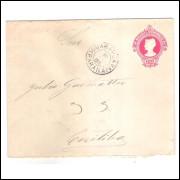 EN-61 - Envelope de 100 Réis Cabeça da Liberdade,algarismos finos,circulada 1916 Guarapuava-Curitiba