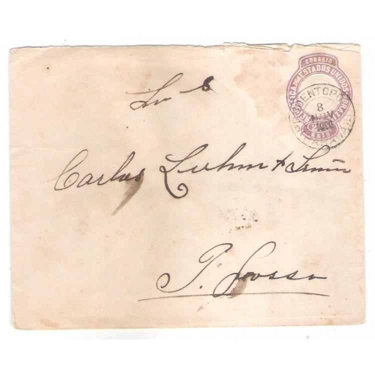 EN-45 - Envelope de 200 Réis, Cabeça da Liberdade, circulado em 1900, Prudentópolis - Ponta Grossa.