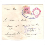 EN-76 - Envelope de 300 Réis, Cabeça da Liberdade, registrado circulado 1931 Florianópolis-Curitiba.
