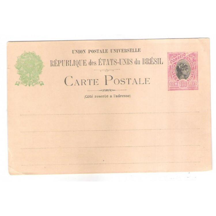 BP-57B - Bilhete Postal de 100 Réis, SEM ACENTO no primeiro E de Réservé , novo.