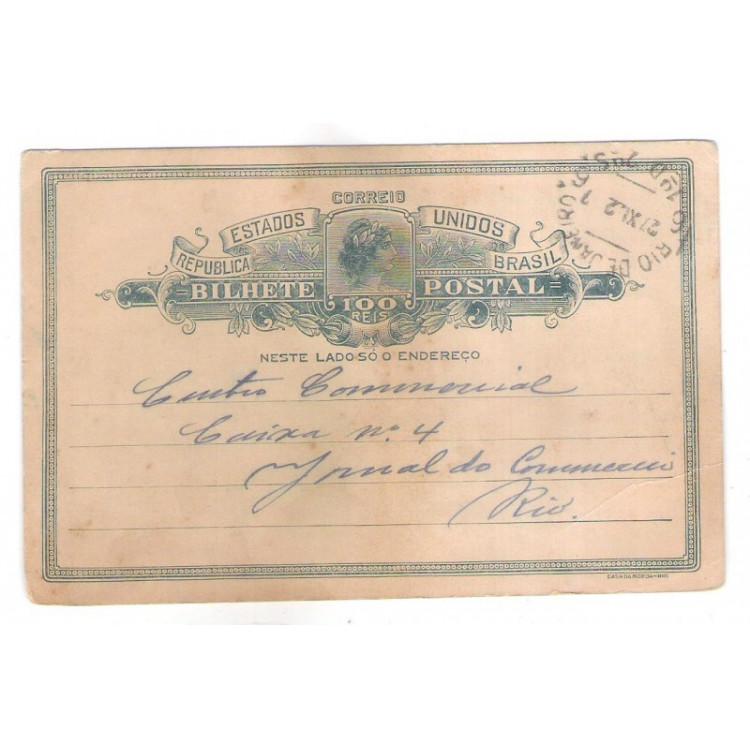 BP-81 - Bilhete Postal de 100 Réis, Cabeça da Liberdade, circulado em 1922.