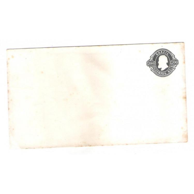 EN-03 - Brasil-Império 1867, Envelope de 200 Réis, Dom Pedro II, novo.