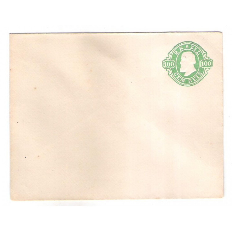 EN-09 - Brasil-Império 1867, Envelope de 100 Réis, Dom Pedro II, novo.