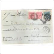 Ev-07 - Envelope de 500 Réis, para remessa de valor, tela de linha grosso, circulado em 1930.