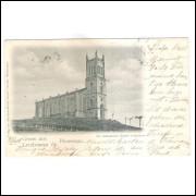 Bl08 - Postal circulado em 1901, Blumenau, Igreja.