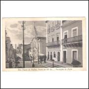 jp09 - Cartão postal antigo, Rua Duque de Caxias, Ponto de 100 Rs., Parahyba do Norte (João Pessoa).
