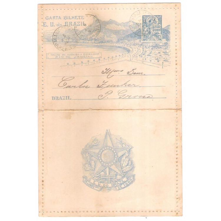 CB-79 - Carta Bilhete de 200 Réis 3o Congresso Panamericano circulada em 1906 Curityba-Ponta Grossa
