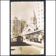 SP62 - Foto Postal antiga, São Paulo, Interior da Igreja Santa Efigênia.