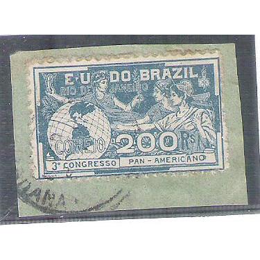 1906 - C-6 - 3o Congresso Panamericano - RJ, 200 Réis, carimbado, sob fragmento.