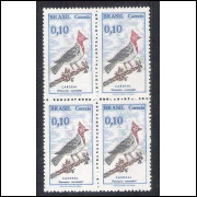 C0642A - 1969 - Pássaro Brasileiro, Cardeal. 10 centavos, QUADRA, com filigrana.