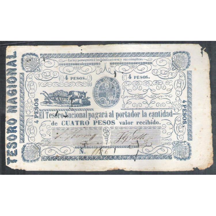 Paraguai (P.24) - 4 Pesos, 1865, uniface.