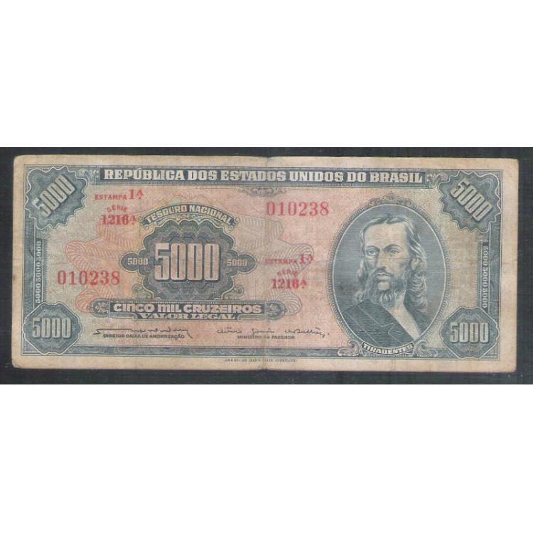 C058 - 5.000 Cruzeiros 1964 Estampa 1a Valor Legal, Reginaldo Nunes-Otávio G.Bulhões, bc. Tiradentes