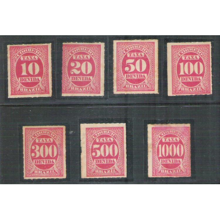 X-1/X-4 + X-6/X-7 + X-9 Brasil - 1890 - Selos de Taxa devida (multa), novos