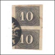 I-11 Brasil Império, 1850, 10 Réis, Olho de Cabra, PAR com Bela Cor.