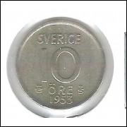 Suécia, 10 Ore 1953 , prata .400, mbc.