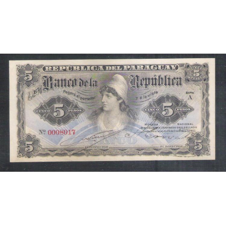 Paraguai (P.156) - 5 Pesos, 1907, fe.