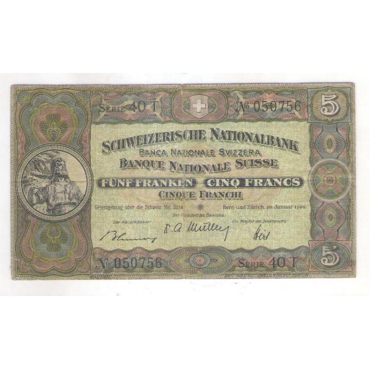 Suíça, 1949, 5 Francs, mbc.