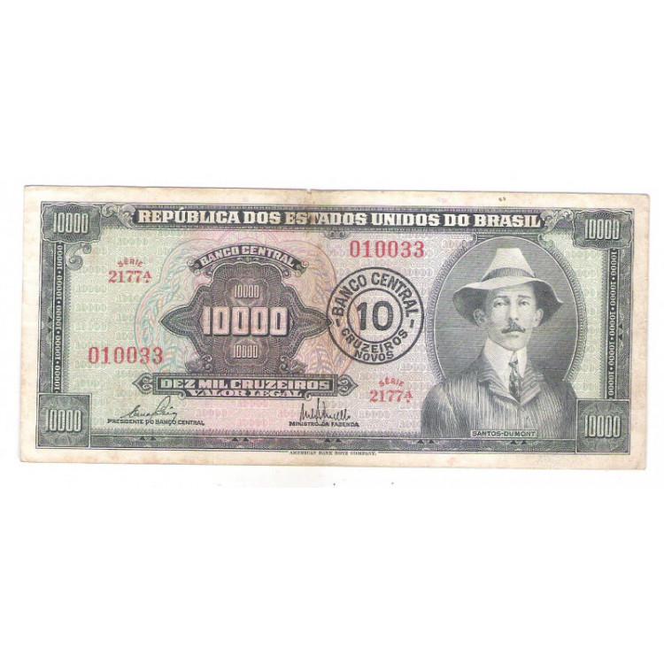 C126 - 10 Cruzeiros Novos, 1967, Cédula Provisória 10.000 Cruzeiros com carimbo, mbc. Santos Dumont.