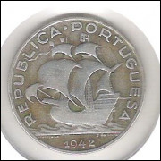 Portugal, 5 Escudos, 1942, prata, mbc. Embarcação, caravela.