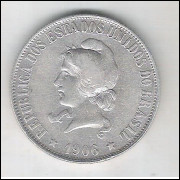 1906 - 2000 Réis, prata, mbc/s.