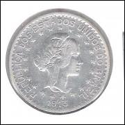 1913 - 1000 Réis, estrelas soltas, prata, soberba, Brasil-República.