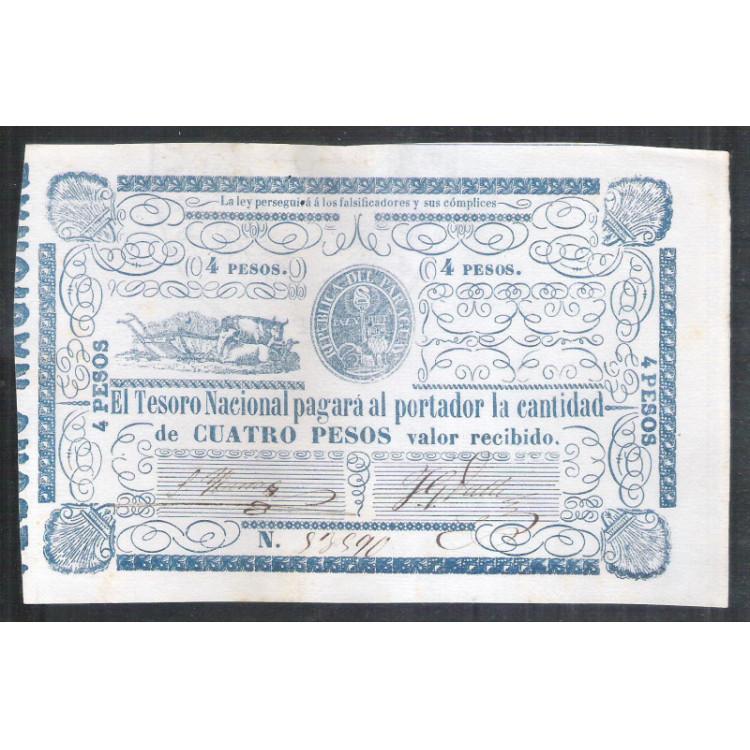 Paraguai (P.24) - 4 Pesos, 1865, uniface. Soberba. Circulou na época da Guerra do Paraguai.