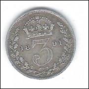 Inglaterra, 3 Pence, 1891, prata .920, Rainha Vitória, mbc.