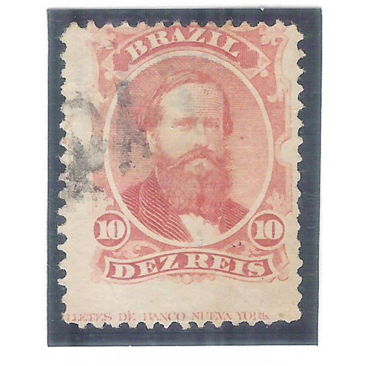 I-23L Brasil Império, 1866, 10 Réis, Dom Pedro II, picotado, COM LEGENDA.