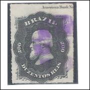 I-35L Brasil Império, 1876, 200 Réis, Dom Pedro II, percê, COM LEGENDA EM INGLÊS.