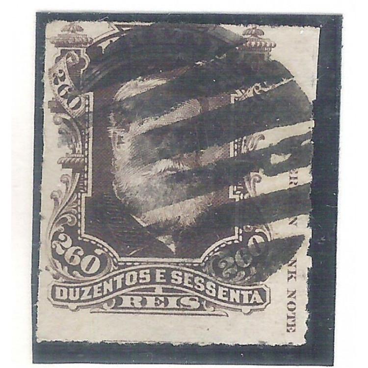 I-43L Brasil Império, 1877, 260 Réis, Dom Pedro II, Barba Branca, COM LEGENDA.