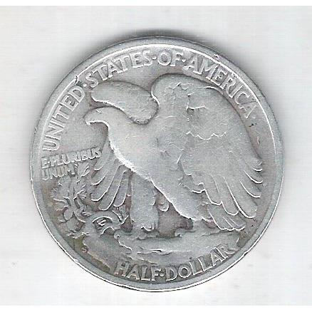 Estados Unidos, Half Dollar, 1/2 dólar, 1945, prata, Walking Liberty, mbc.