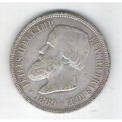 1869 - 1000 Réis, prata, soberba , Brasil-Império, Dom Pedro II.